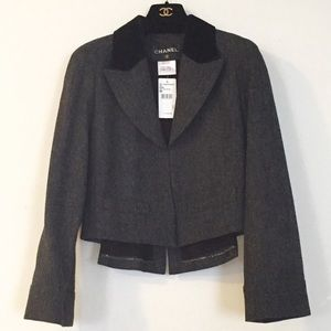 Chanel Cropped Gray Jacket FR38 / US6